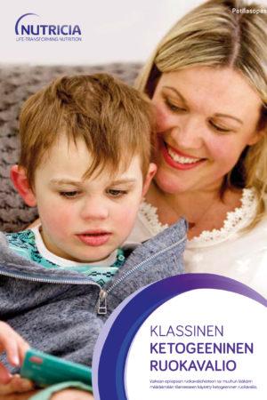 Klassinen ketogeeninen dieetti -esitteen kansi, jossa otsikko ja aikuinen istuu lapsi sylissään.